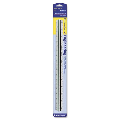 Staedtler Products - Staedtler - Triangular Scale for Engineers, Color-Coded Grooves, 12 Inches - Sold As 1 Each - Triangular scale delivers the precision and versatility engineers require. - Three sides with six different scales. - Full divided: 10, 20, 30, 40, 50 and 60 parts to the inch. - White plastic. -