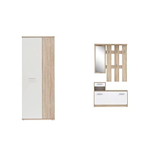 Forte Net106 Mehrzweckschrank, Holz, Sonoma Eiche + weiß, 68.90 x 34.79 x 179.1 cm & Kompaktgarderobe inklusive Spiegel, Sonoma Eiche Dekor, 97.5 x 25 x 180 cm
