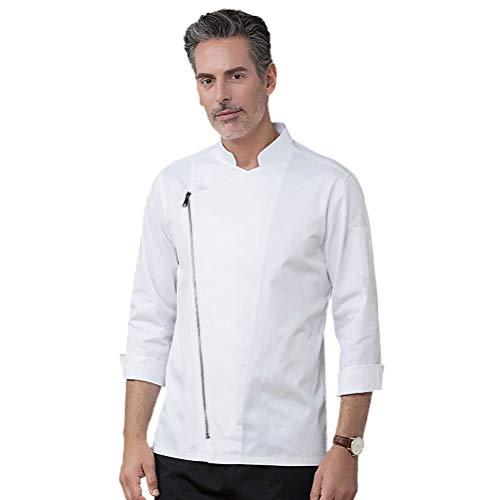 Nanxson Unisex Donna Cappotto da cuoco a maniche lunghe Ristorante Hotel Uomo Cucina Giacca da cuoco Chef Abbigliamento da lavoro Uniforme CFM0058 (Bianco, M)