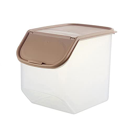 WGGTX Contenedores de Almacenamiento de ahorradores de a Caja de Almacenamiento de arroz Caja de Almacenamiento Grano Cereal Dispensador Organizador de Alimentos Envase de Sellado (Color : Coffee)