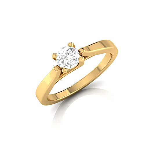0.34 Ct IGI Certified Diamond Gold Statement Ring, Wedding Anniversary Solitaire Ring, IJ-SI Color Clarity Diamond Bridal Ring, Partywear Gold Ring, 14K Yellow Gold, Size:US 8.0 (0.34 Ct Emerald Cut Diamond)
