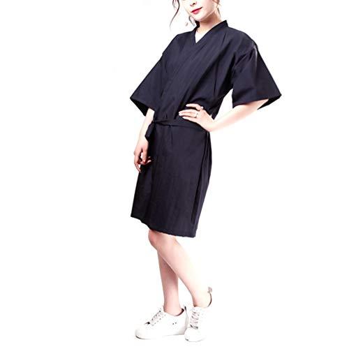 Uonlytech Salon Client Robes Cosmétologie Uniforme Coiffure Cape Coiffeur Vêtements de Travail Cheveux Beauté Spa Robes (Noir)