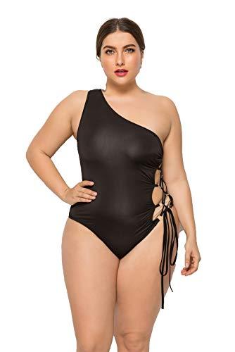 Magnificent Damen-Badeanzug, volle Größe, sexy, bequem, schräg, mit Schulterriemen, Einteiler - Schwarz - 4X-Large