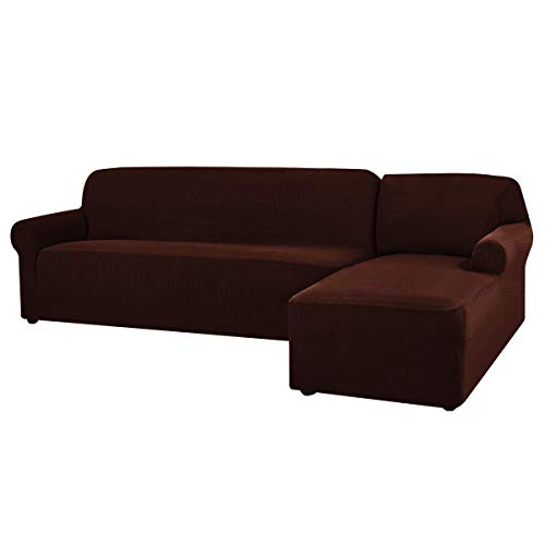 CHUN YI L-Shaped Sofa Cover Couch Covers Jacquard Polyester Stretch Fabric Sectional Sofa Slipcovers (Right Chaise, Chocolat)