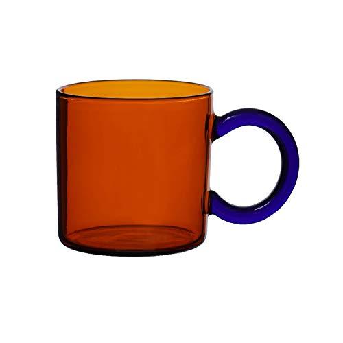 Taza de cristal engrosada de color taza de café resistencia al frío y calor taza de té de 250 ml para oficina y hogar taza de agua (color: ámbar)