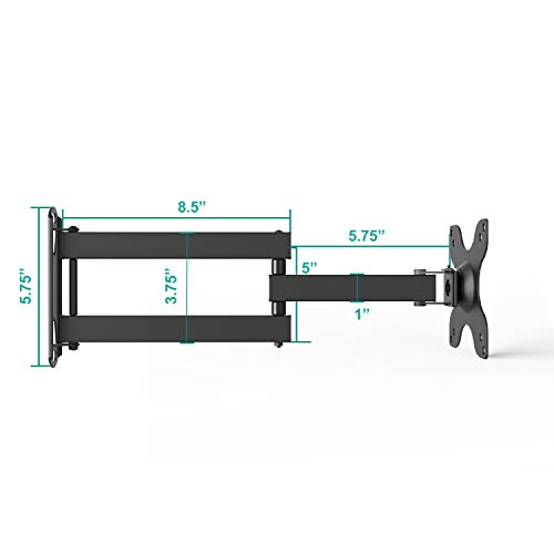 WALI Articulating TV LCD Monitor Wall Mount Full Motion 14 inch Extension Arm for Most 13 15 17 19 20 22 23 24 26 27 30 inch LED TV Flat Screen up to 33 lbs, VESA 75 and 100 (1330LM), Black