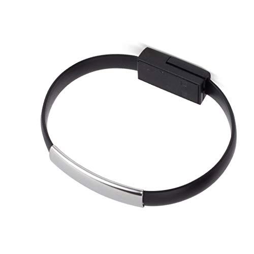 PULABO Pulsera Micro USB Cargador Carga Datos Sincronización Cable Pulsera para Android Smartphone Negro Calidad Superior y Creativo Popular