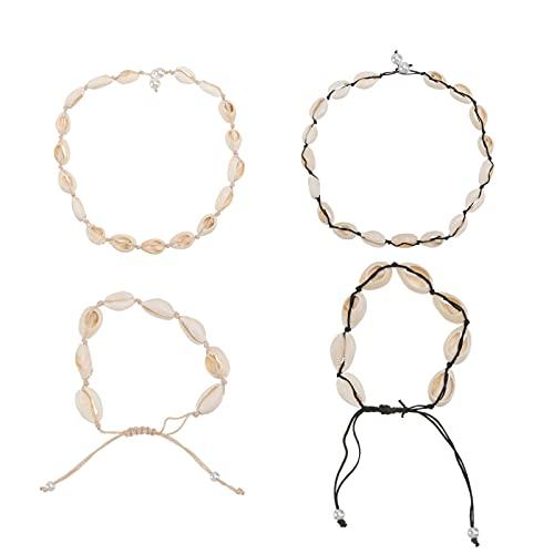 Desconocido Generic Collares de Concha Cowrie Puka Choker Collar Y Pulseras Set Hecho a Mano Hawaii Boho Estilo Ajustable Conch Beaded Jewelry para Mujeres Niñas