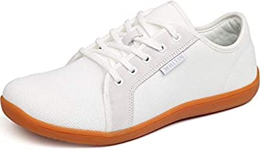 WHITIN Women's Minimalist Knit Barefoot Sneakers, Size 8 Low Zero Drop Sole with Arch Support Wide Width Toe Box Fashion Gym Training Running Walking Shoes Female White 38