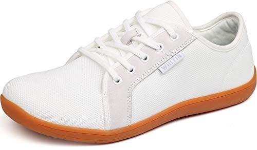 WHITIN Damen Knit Barfussschuhe Traillaufschuh Barfuss Schuhe Barfußschuhe Minimalschuhe Trekking Zehenschuhe Sneaker für Frauen Tennisschuh Atmungsaktive Tennis Joggingschuhe Weiß gr 38 EU