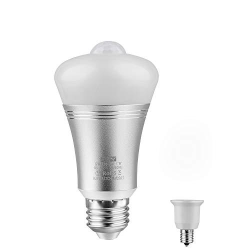 CLY LED 電球 人感センサー ライト E26口金 昼白色 7W 60W形相当 光センサー LED 電球 E26-E17口金変換ソケット付 赤外線センサー PIR動体感知点灯 自動消灯 省エネ 広配光210° 昼白色1個セット