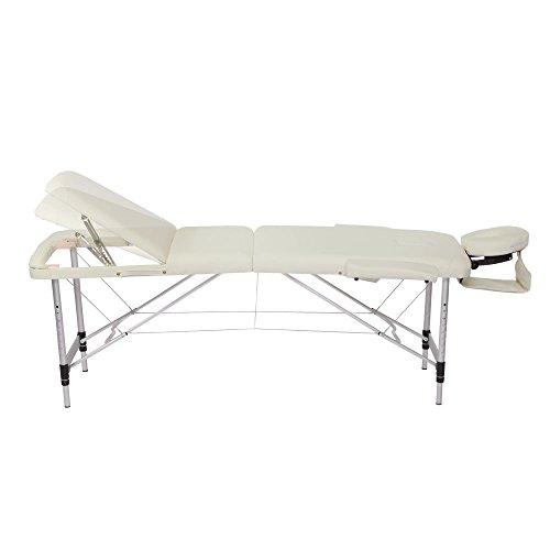 dibea MT00573, Mobile Massageliege (Aluminiumgestell), 3 Zonen Massagebank (beige), höhenverstellbar inkl. hochwertiger Kopfstütze, klappbar, tragbar mit Tasche