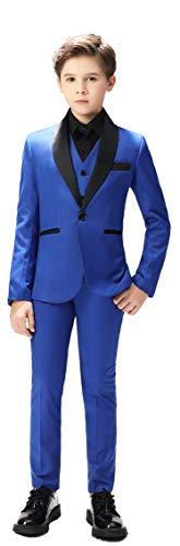 Boy Classic Tuxedo Morden Fit Boys 3 Pcs Royal Blue Suits Toddler Dress with Coat, Pants, Vest Set No Tail Size 7