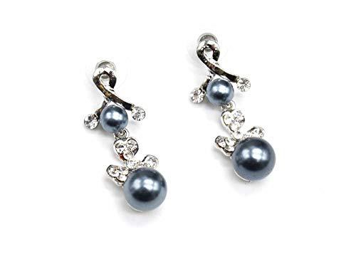 BO66 colgantes hebilla-Pendientes, diseño de corazón con brillantes, color plateado y perlado modo de piel, color gris