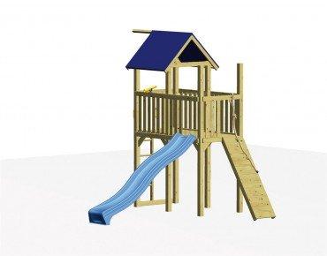 Winnetoo Spielturm Set 1 mit Rutsche und Klettersteg, inkl. aller Schrauben und Bodenankern