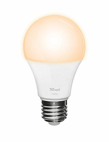 Trust Smart Home Zigbee E27 Flame LED Lampe ZLED-2209 (kompatibel mit Philips Hue*, dimmbar, Warme Flammenlichtfarbe 2200K) [Energieklasse A+]