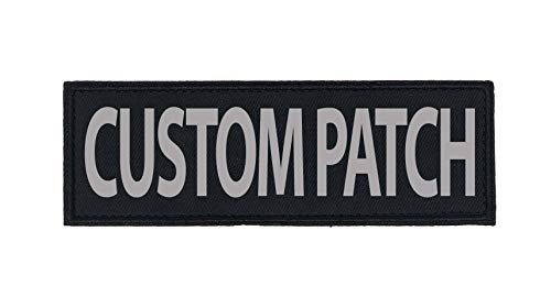 Dogline Custom Reflective Patch for Vest Harness Or Collar Customizable Text Personalized Patches with Hook Backing Name Service Dog in Training Emotional Support 1 Patch - 2' x 6'