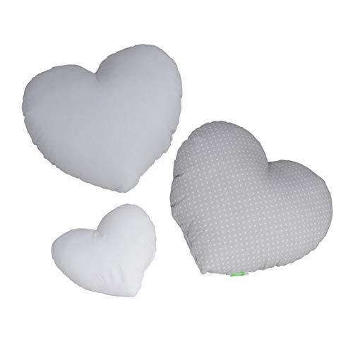 LULANDO Juego de 3 Almohadas con Forma de corazón de algodón en Tres Colores para niños, decoración excepcional para la habitación de los niños, cojín Suave (Gris)