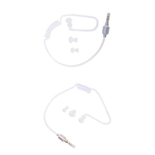 B Blesiya Transparente 3.5mm Plug Vacuum Air-Duct Spring Auricular Mono Auriculares, 2Pcs