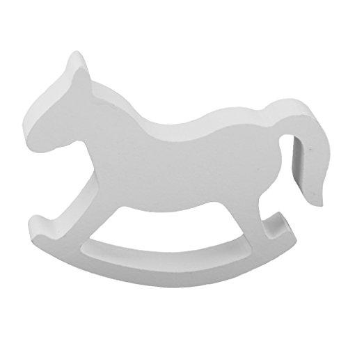 Petit Cheval à Bascule en Bois Décoration pour Mariage Jouet - Blanc