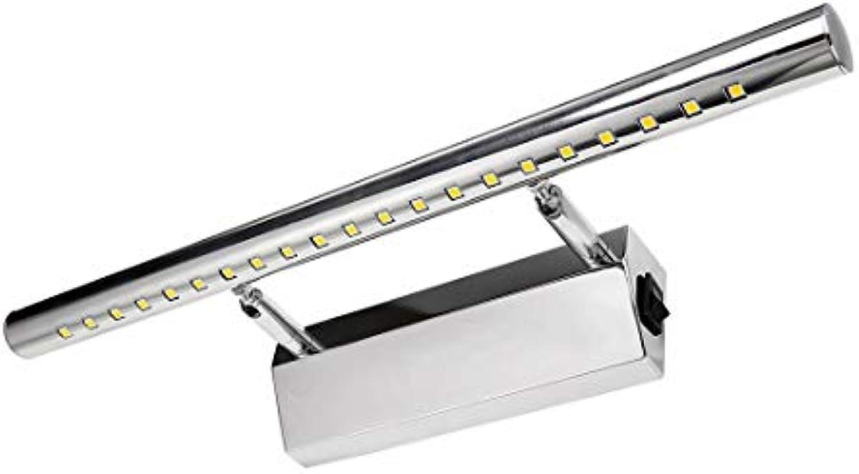 LED Spiegelleuchte Mit Schalter 5W Schrankleuchte 180° einstellbar Badlampe Badleuchte Spiegellampe Wandleuchte aus Edelstahl wei 3500K 21x5050SMDs wei[Energieklasse A++] 1-Jahre Garantie