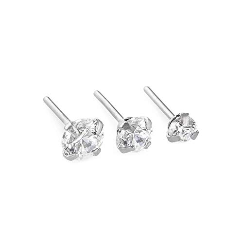 Painful Pleasures 20g Stainless Steel Push Pin Top with Prong-Set Crystal Jewel — Pick Jewel Size