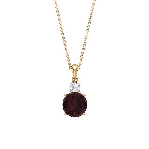 Rosec Jewels 10 quilates oro amarillo redonda Round Brilliant Red Garnet Moissanite