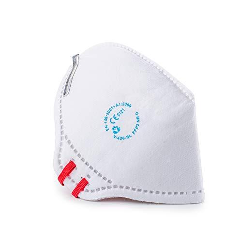 SolidWork 10er Set FFP2 Fold Flat Atemschutzmasken | Masken für Mund- und Nasenschutz | Einzeln verpackte Schutzmasken | Feinstaubmaske, Staubschutzmaske, Staubmaske