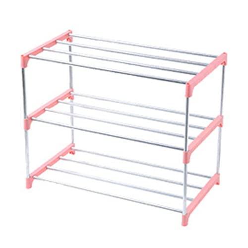 Heqianqian Zapatero apilable de 3/4 niveles, para ahorrar espacio, organizador de almacenamiento de zapatos para pasillo (tamaño: como se muestra; color: rosa 3 niveles)
