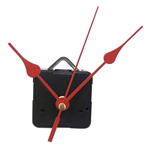 DOITOOL 1 piezas kit de movimiento reloj de cuarzo silencioso mecanismo de reloj maquinaria reloj pared maquinaria de reloj con agujas de pared con 3 manos sin batería (mano roja)