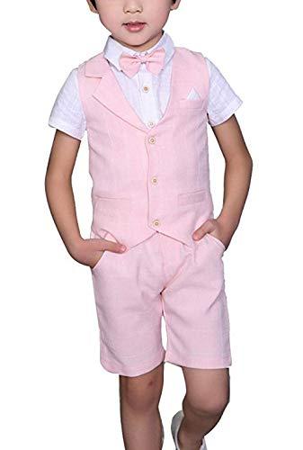 Conjunto de ropa de verano para niño, chaleco + pantalones + camisa + pajarita, 4 piezas, conjunto de traje de caballero, vestido formal, corto, Rosa/Rebel Fun., 1T
