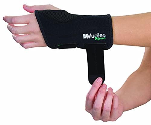 Mueller Green Fitted Wrist Brace, Black, Left Hand, Small/Medium (5-8)