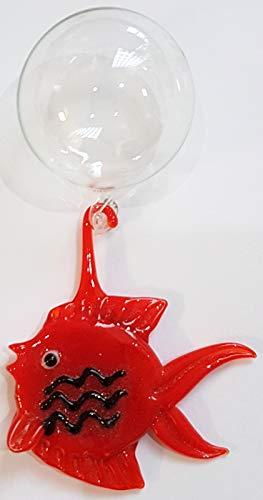 Oberstdorfer Glashütte Fisch rot Glas Figur zum hängen am Ballon Glasfisch Ornament Wasser Aquarium Schwimmer Dekoration zum hängen Länge ca. 5,5 cm Gesamtlänge ca. 9cm