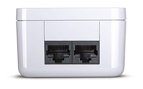 devolo dLAN 550 duo+ Starter Kit Powerline (500 Mbit/s Internet aus der Steckdose, 2x LAN Ports, 2x Powerlan Adapter, integrierte Steckdose, PLC Netzwerkadapter) weiß