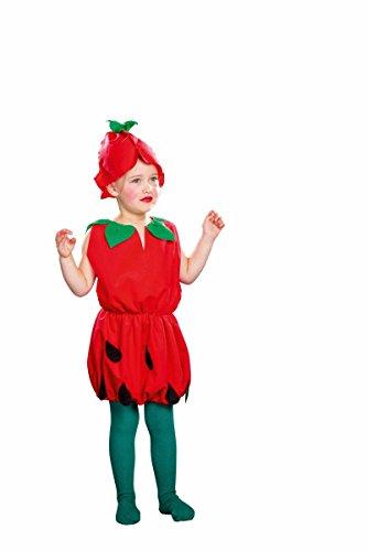 Festartikel Müller Kinder Kostüm kleine Erdbeere Kleid Hut Karneval Fasching Gr.116/128