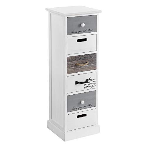 [en.casa] Schubladenregal Salo Kommode mit 6 Schubladen Schubladenschrank 91x29x27cm Schrank Weiß Shabby Chic