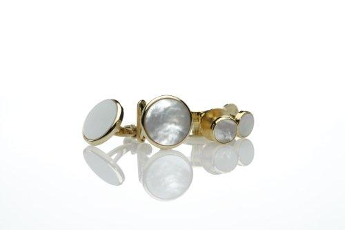 スタッド ボタン 単品 天然貝 白蝶貝 使用 燕尾服 スタッド のみ (ゴールド丸型) F-3 スタッドのみ