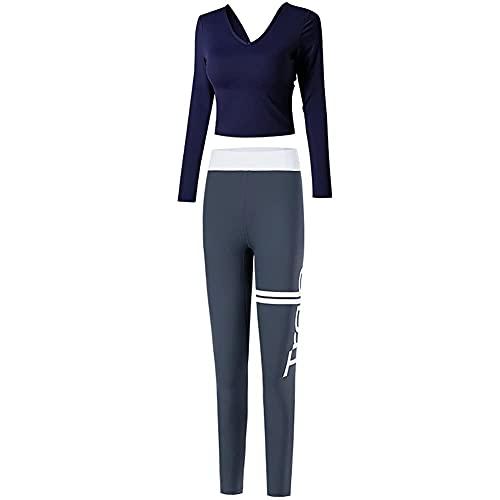 ZHZHUANG Mujeres Trajes de 2 Piezas Entrenamiento de Yoga Gimnasio Manga Larga Tops Y Pantalones Conjunto de Mono,Azul,L