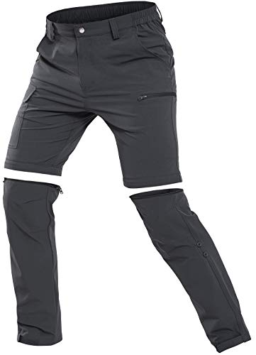 Cycorld Herren Wanderhose Outdoorhose, Atmungsaktiv Stretch Herren Trekkinghose mit 5 Tiefe Taschen (Dunkelgrau, M)
