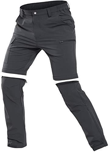 Cycorld Herren Wanderhose Outdoorhose, Atmungsaktiv Stretch Herren Trekkinghose mit 5 Tiefe Taschen (Dunkelgrau, XL)
