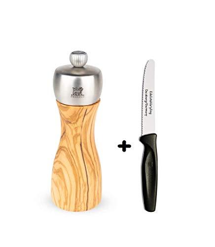 Peugeot FIDJI Pfeffermühle 15 cm aus Olivenholz + Edelstahlstyling Universalmesser im Set