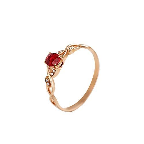 Beydodo Rosegold Ring 750 Damen mit Diamant Unendlichkeit mit Oval Rubin Verlobungsring Rosegold Eheringe Nickelfrei Große 62 (19.7)