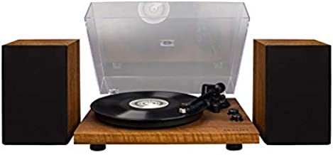Crosley C62A-WA Belt-Drive 2-Speed Vinyl Bluetooth Turntable with Included Speakers and Built-in Amplifier, Walnut
