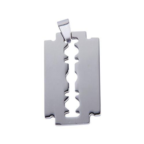 TOOGOO(R) Maenner Rasiermesser Klinge Titan Stahl Anhaenger Silber ca. 3,8 * 2,3cm