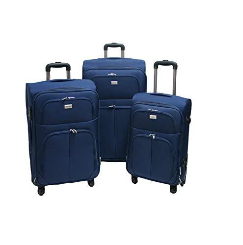 SLmilano Trolley valigia set valigie semirigide set bagagli in tessuto super leggeri 4 ruote piroettanti trolley piccolo adatto per cabina con compagnie lowcost art.214 (blu)