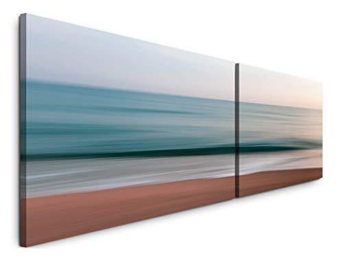 Paul Sinus Art Meer und Himmel 180x50cm - 2 Wandbilder je 50x90cm - Kunstdrucke - Wandbild - Leinwandbilder fertig auf Rahmen