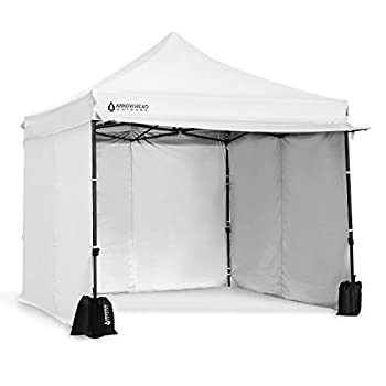 Arrowhead Outdoor 10'x10' Heavy-Duty Pop-Up Canopy Instant Shelter Easy One Person Setup Water & UV Resistant Push Button Legs Wheeled Bag Guide Ropes Stakes Side Walls Awning USA-Based