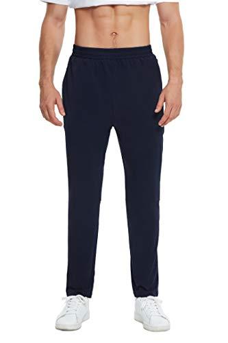 Men's Hiking Pants Sweatpants Zipper Pockets Tapered Track Athletic Pants for Men Running Jogger Pants Workout
