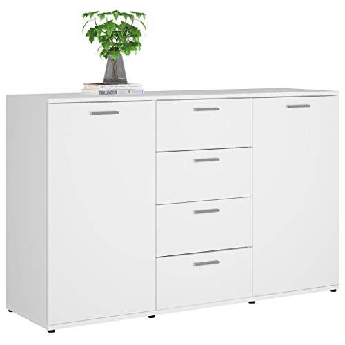 Cikonielf - Mobiletto moderno con cassetti e scaffali, 120 x 35,5 x 75 cm, con cassettiera, colore: Bianco