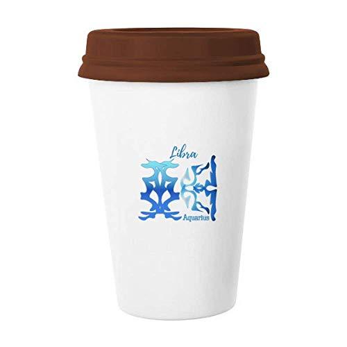 Wassermann Waage 2 Sternbild Becher Kaffee Trinkglas Keramik Becher Deckel